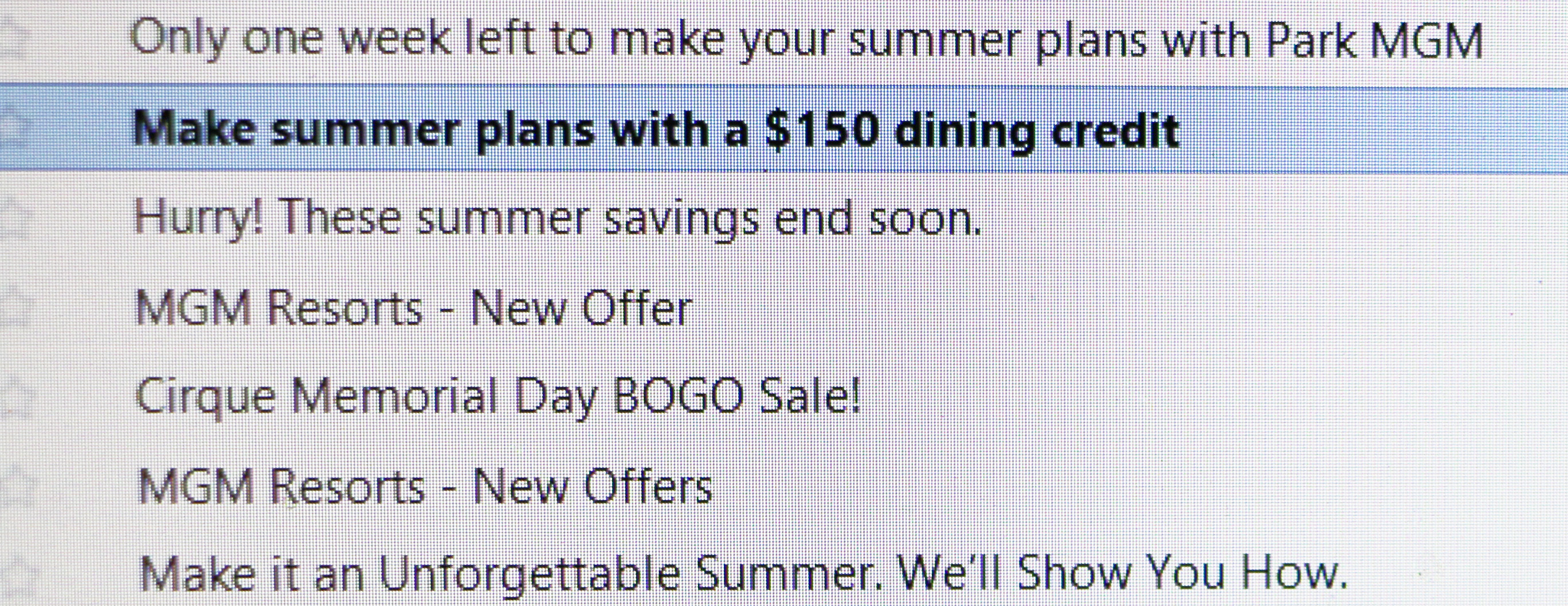 hotel email deals vegas